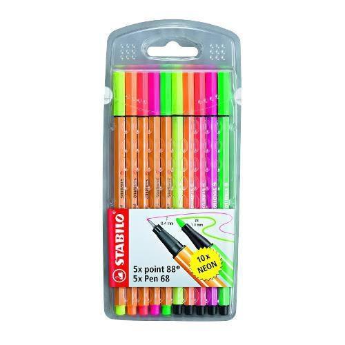 Caneta Stabilo NEON Point 88 / Pen 68 Com 10 Cores