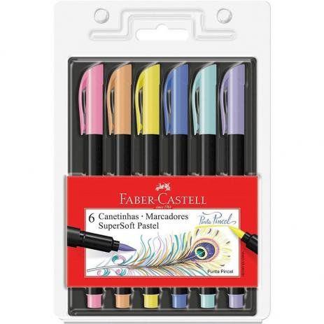 Caneta Supersoft 6 Cores Pastel Ponta Pincel Brush Faber-castell