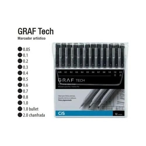 Caneta Técnica Graf Tech Estojo com 12 pontas - Cis