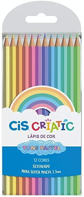 CRIATIC Lápis de Cor CIS Sextavado 3,3mm c/ 12 Cores em Tons Pasteis
