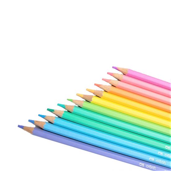 CRIATIC Lápis de Cor CIS Sextavado 3,3mm c/ 24 Cores em Tons Pasteis