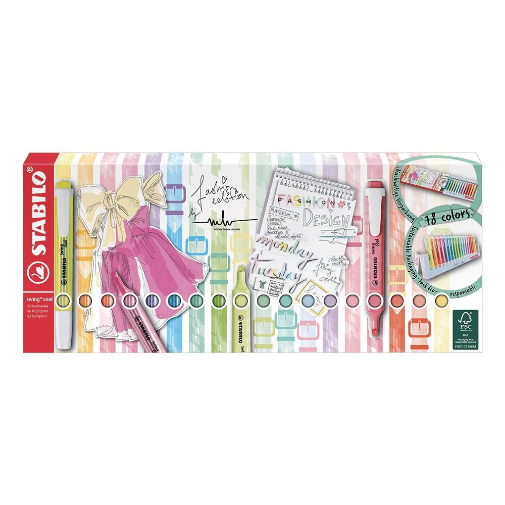 Display Marca Texto Stabilo Swing Cool Fashion Edition 18 unidades - LANÇAMENTO 2021