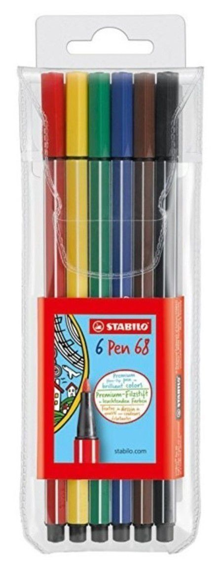 Estojo Stabilo Pen 68 com 6 cores