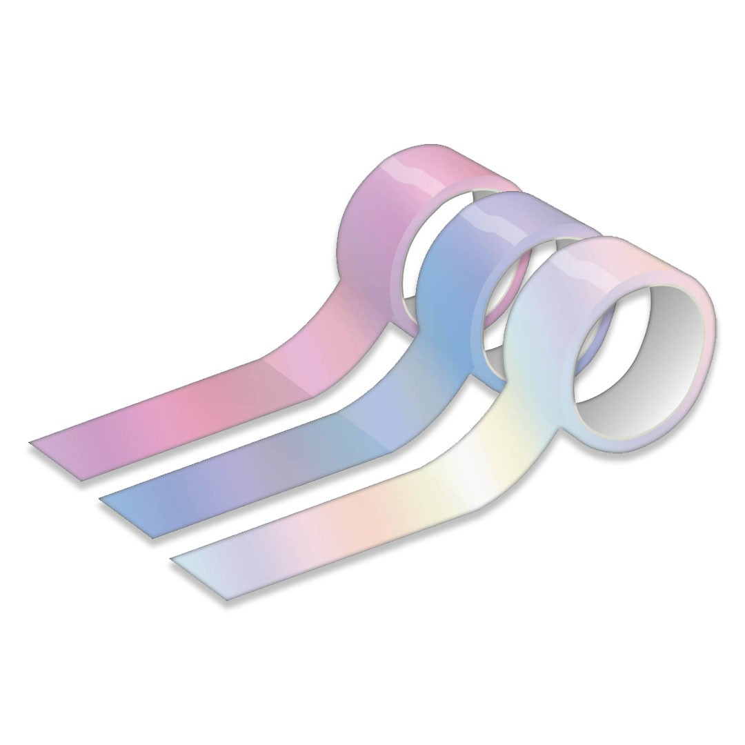 Fita Adesiva TILIBRA Washi Tape 15 mm x 10 m - Holográfica com 3 unds