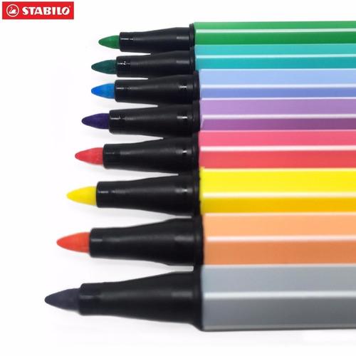 Kit caneta Stabilo Pen 68 com 10 cores