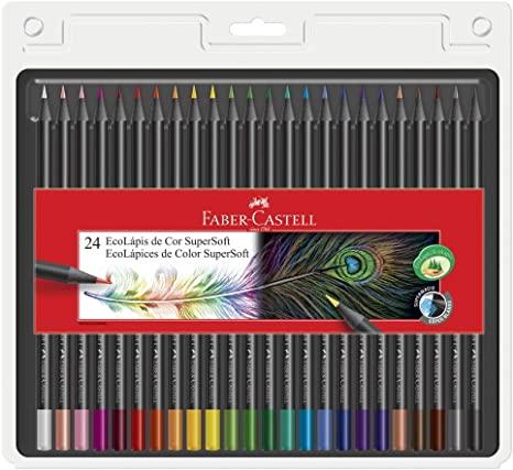 Lápis de cor Faber-Castell EcoLápis Supersoft 24 cores
