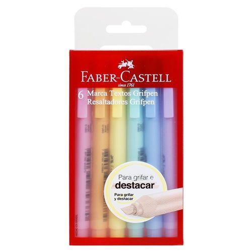 Marca Texto Tons Pastel FABER-CASTELL Grifpen Estojo C/ 6 Unids