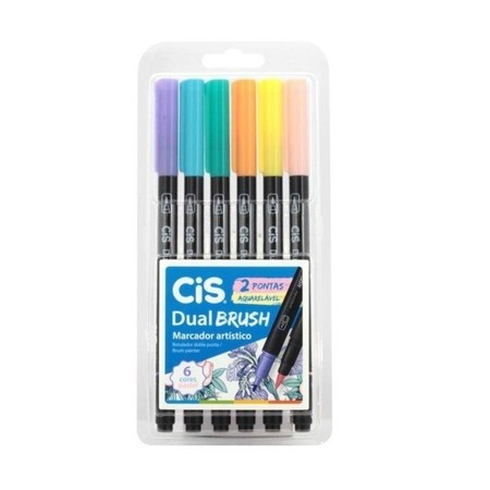 Marcador Artístico Dual Brush Aquarelável Tons Pastel Cis 6 Cores