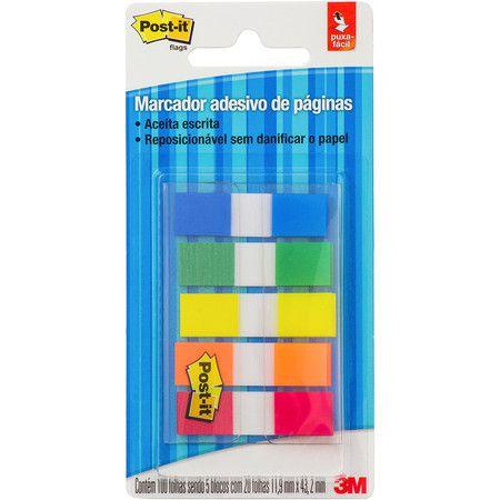Marcador de Página Adesivo Post-it® Flag 5 Cores Sortidas BT 100 UN