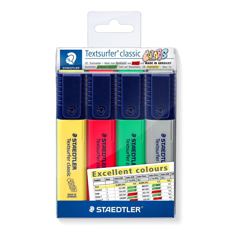 Marcador de Texto Textsurfer Estojo com 04 cores Staedtler - CLASSIC EXCELLENT COLOURS