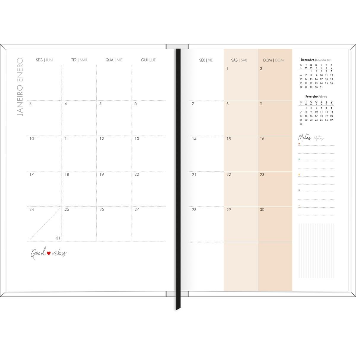 PLANNER COSTURADO 13,4 X 19,2 CM WEST VILLAGE 2022 BRANCO