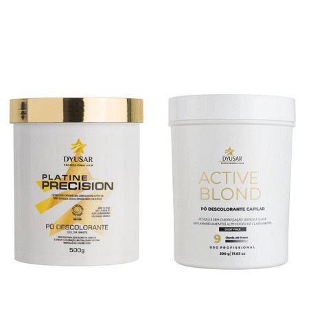 Kit 2 Pó Descolorante Active Blond + Platine P. White Dyusar