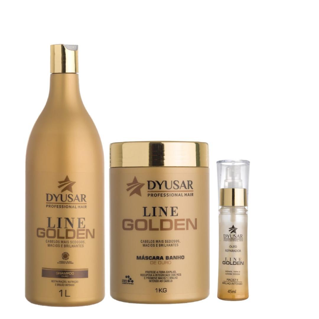 Kit Banho de Ouro Line Golden Grande com óleo DYUSAR