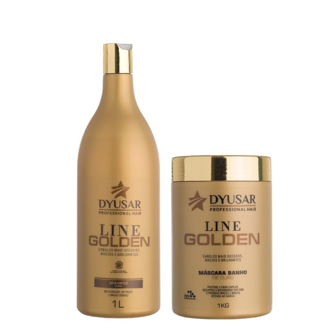 Kit Banho de Ouro Line Golden Shampoo e Mascara DYUSAR 1 KG