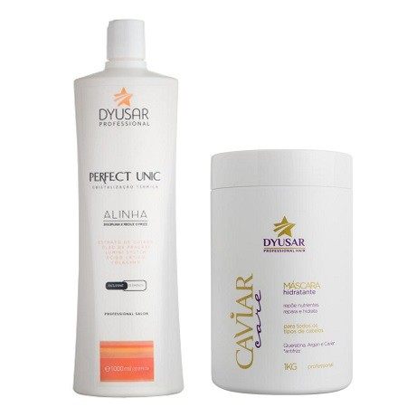 Kit Escova Progressiva Perfect Unic 1L + Mascara Caviar 1kg
