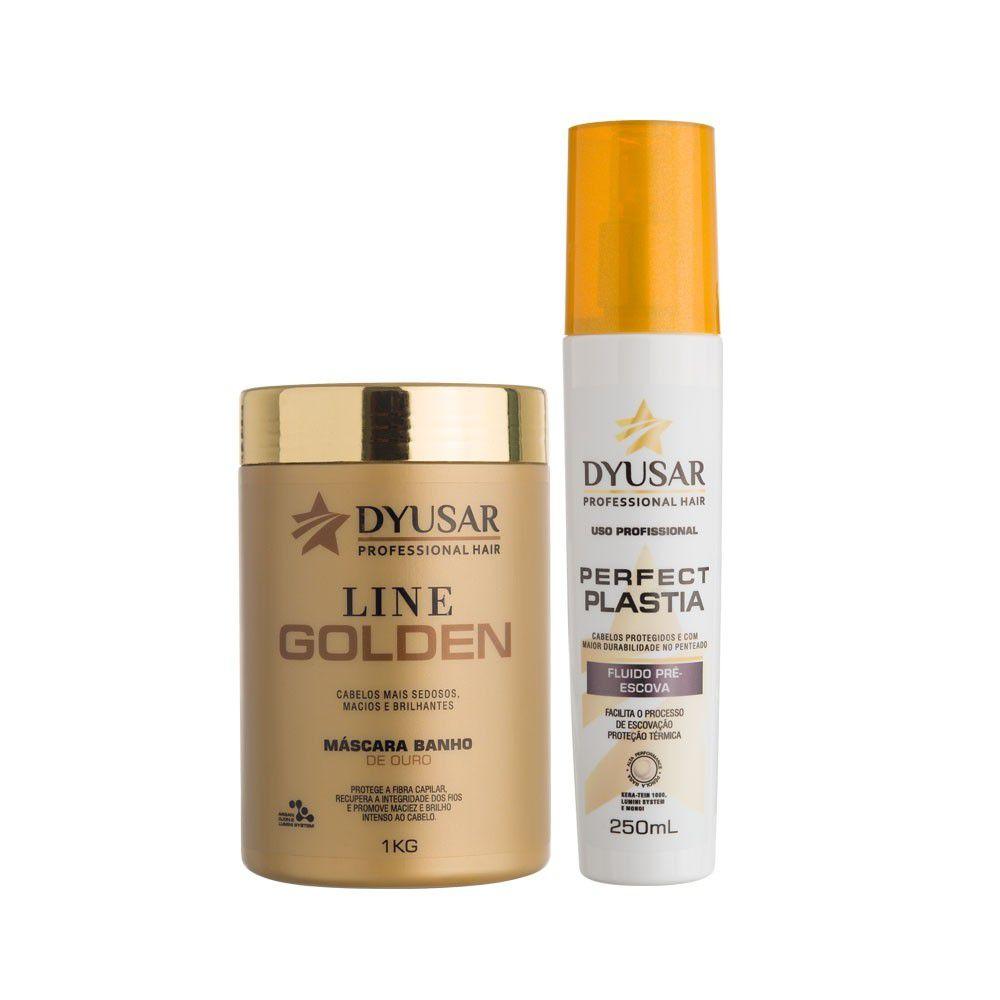 Kit Máscara Line Golden 1kg + Fluído Pré Escova DYUSAR