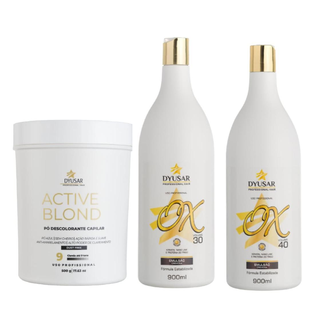 Pó Descolorante Active Blond Blue + Ox 30 e 40 Vol