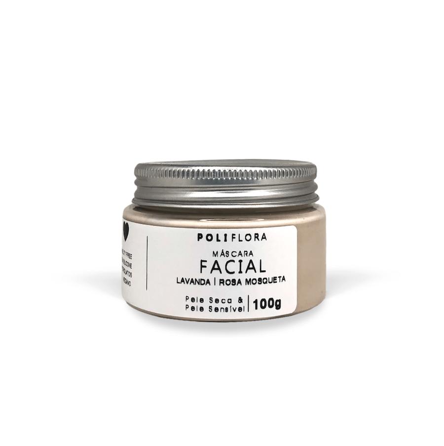 Máscara Facial Lavanda, Argila Branca 100g Poliflora