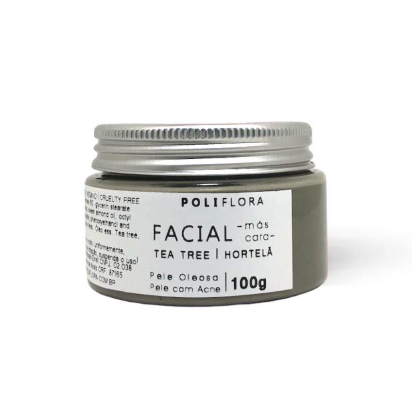 Máscara Facial Tea tree e Argila Verde 100g Poliflora