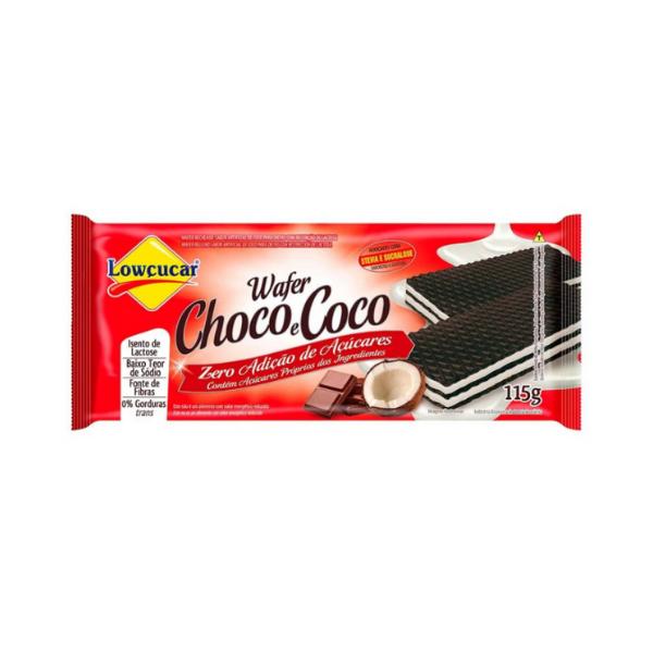 Wafer Choco/Coco Zero Açúcar 115g Lowçucar