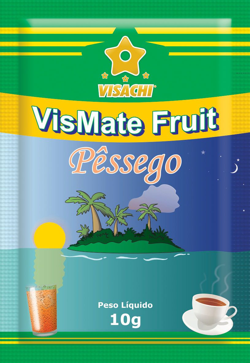 Chá Mate com Pêssego VisMate Fruit Sachês - 100 unidades  - Visachi Alimentos