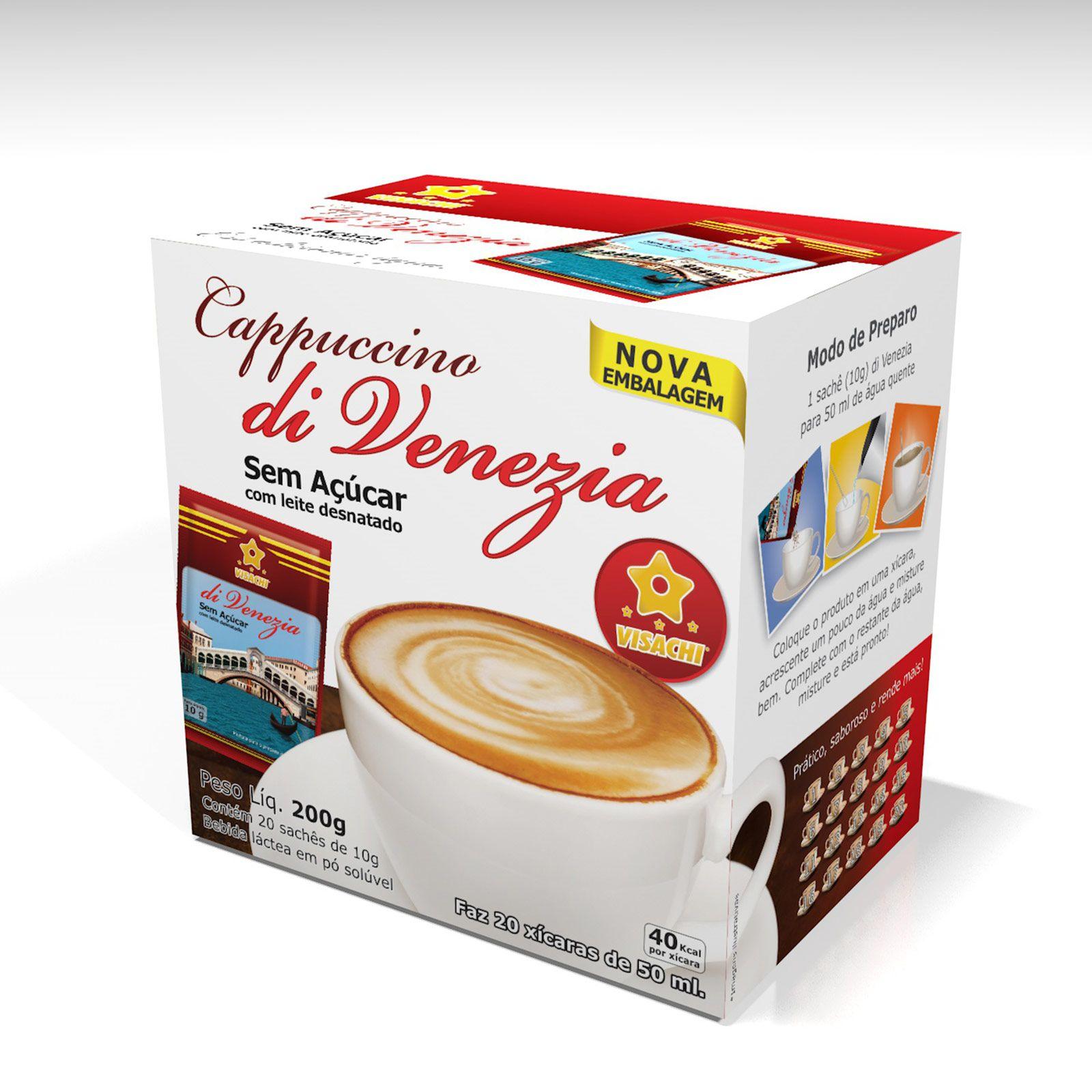 Mini Box Cappuccino Tradicional sem açucar di Venezia Sachês - 20 unidades  - Visachi Alimentos