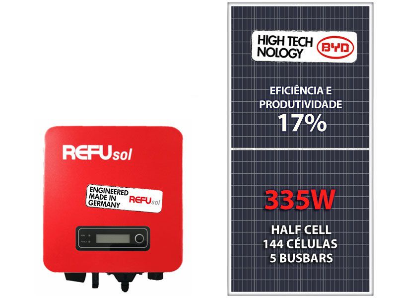 KIT FOTOVOLTAICO 3,35KWP BYD POLI REFUSOL CELL ONE 3KW 2MPPT MONO 220V TELHA METÁLICA