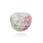 Berloque Coração Floral Prata 925
