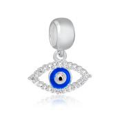Berloque Olho Grego com Zirconia Prata 925