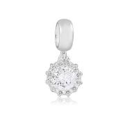 Berloque Radiante Zircônia Cristal Prata 925