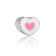 Berloque Separador Coração Branco e Rosa Prata 925