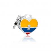 Berloque Separador Coração Colômbia Prata 925