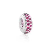 Berloque Separador Zircônia Rosa Pink Prata 925