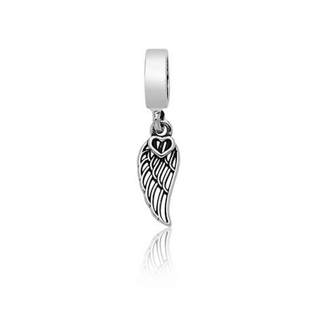 Berloque Asa de Anjo Com Coração Prata 925