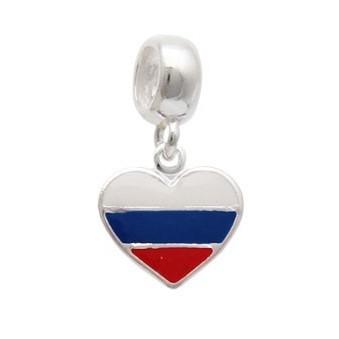 Berloque Bandeira Rússia Prata 925