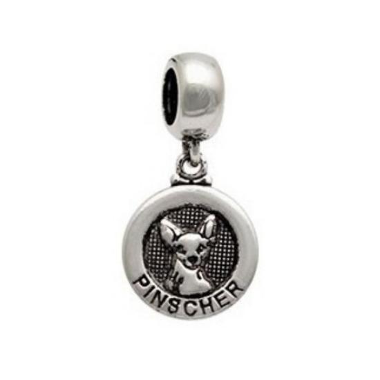 Berloque Cachorro Pinscher Medalha Prata 925