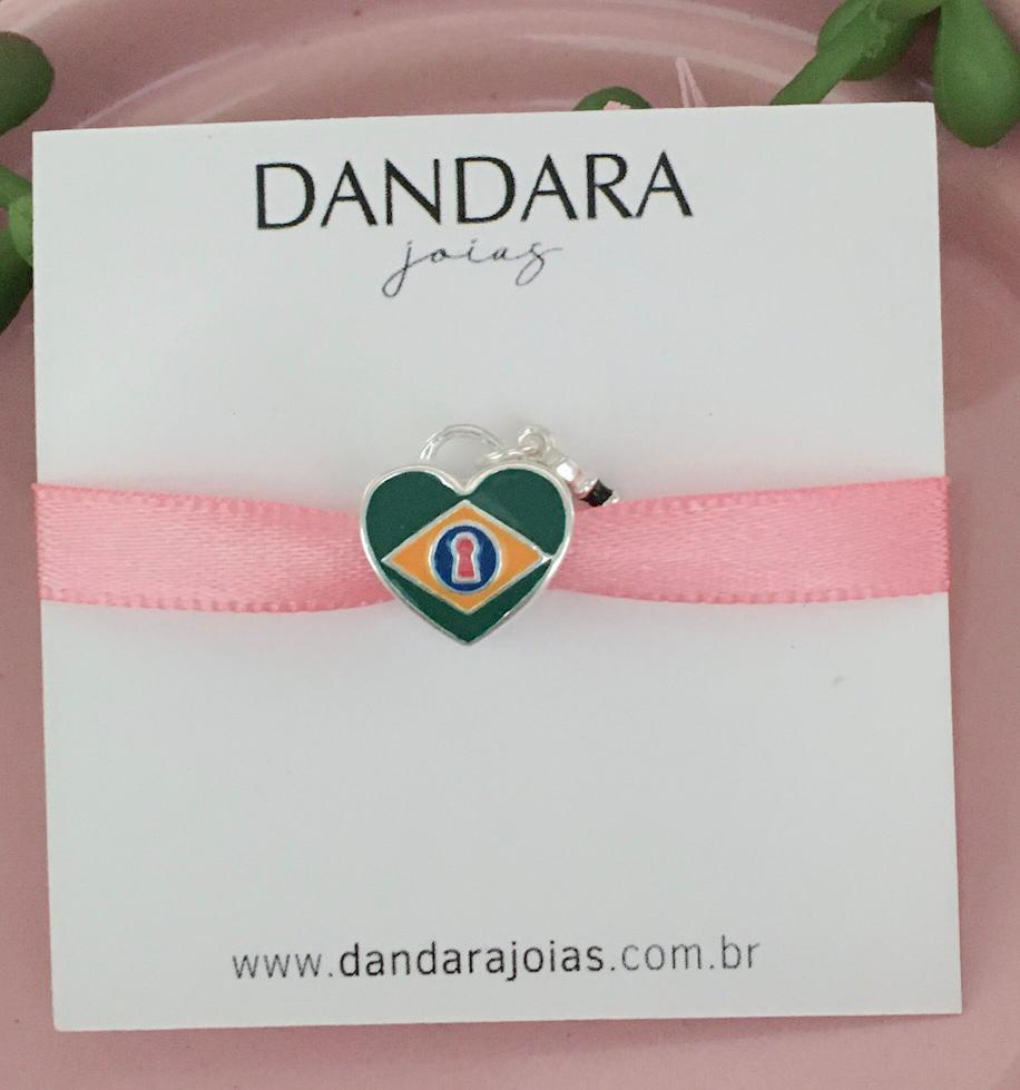 Berloque Coração Brasil Prata 925