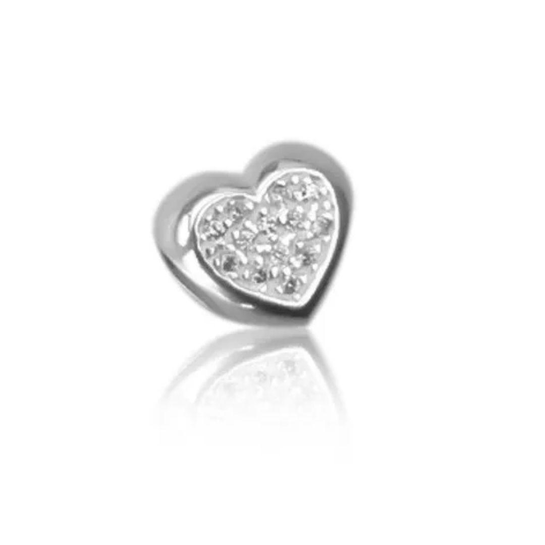 Berloque Coração com Zircônia Prata 925