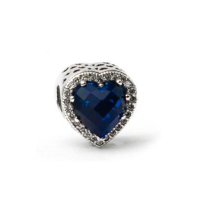 Berloque Coração Cristal Azul Prata 925