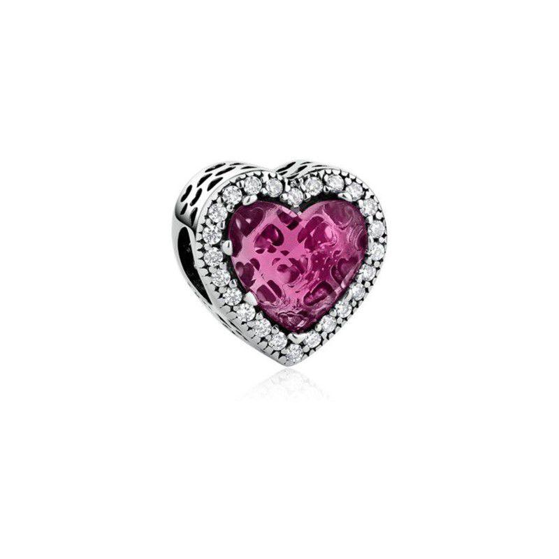 Berloque Coração Cristal Rosa Prata 925