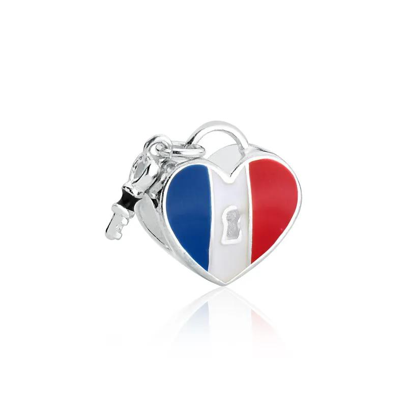Berloque Coração França Prata 925