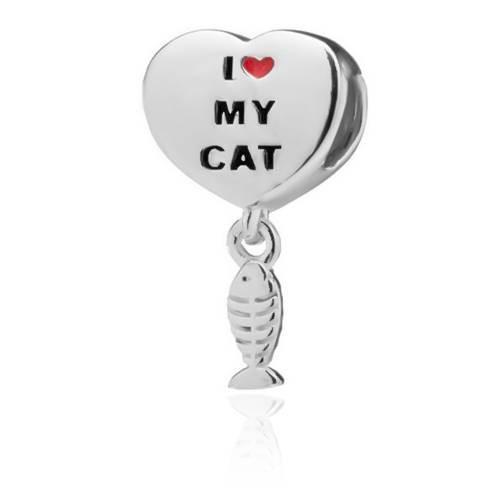 Berloque Coração Patinhas I Love My Cat Prata 925