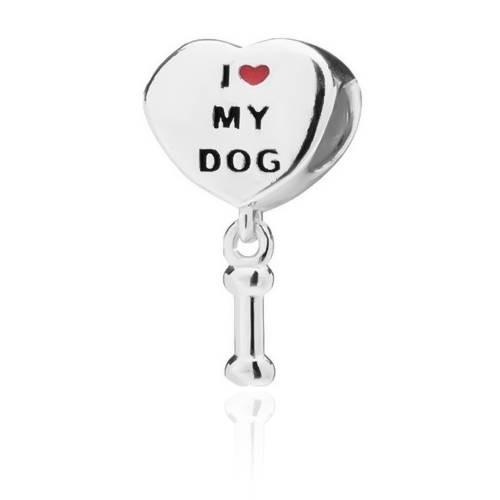 Berloque Coração Patinhas I Love My Dog Prata 925