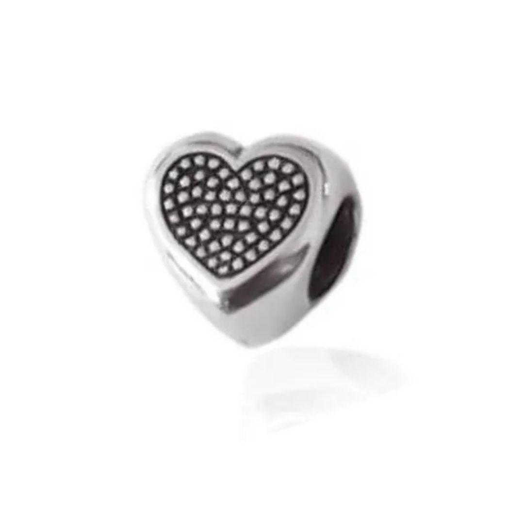 Berloque Coração Pontilhado Separador Prata 925