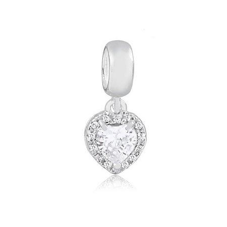 Berloque Coração Radiante com Zircônia Cristal Prata 925