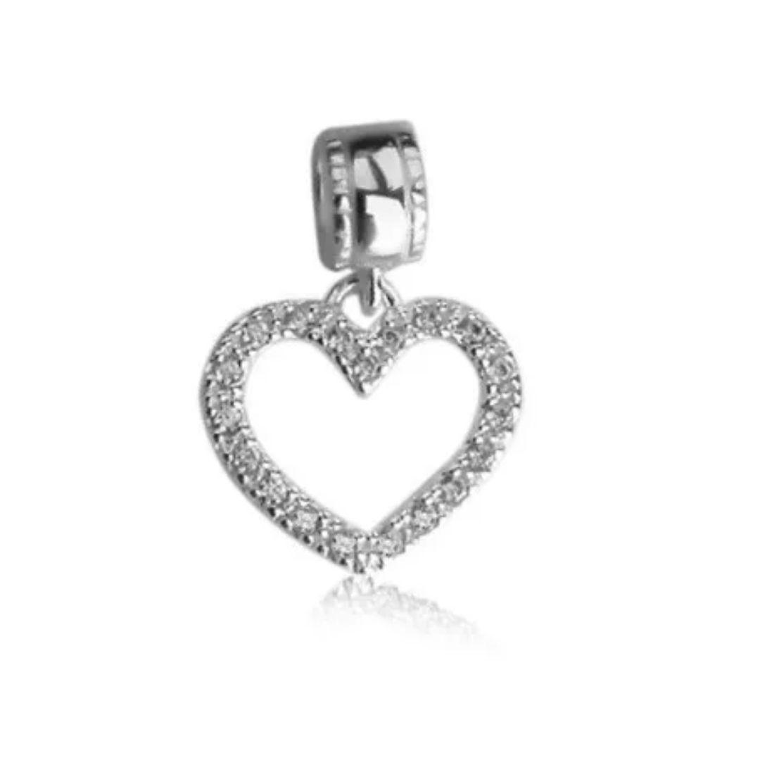 Berloque Coração Vazado com Zircônia Prata 925