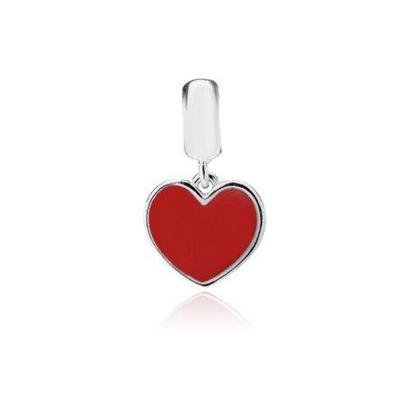 Berloque Coração Vermelho Prata 925