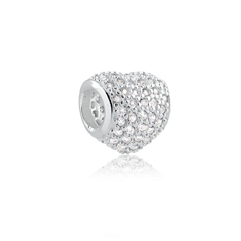 Berloque Coração Zircônia Cristal Prata 925