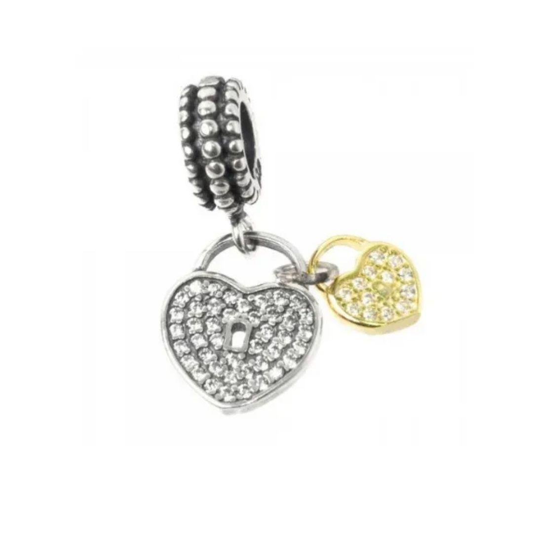 Berloque Corações Cadeado Pingente Dourado Prata 925
