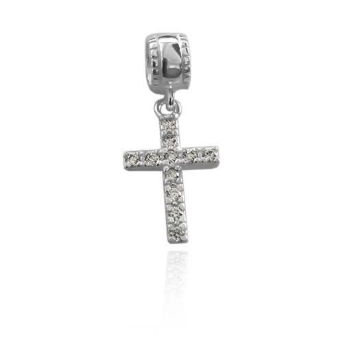 Berloque Crucifixo com Zircônia Prata 925